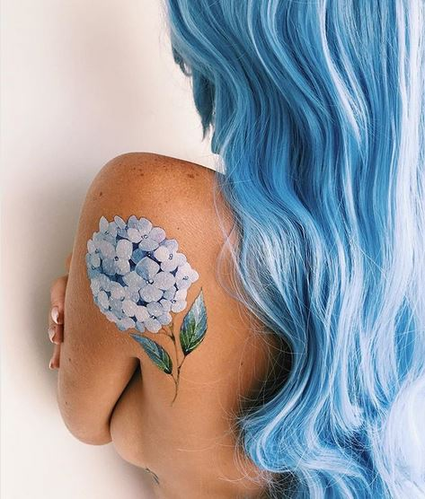 Blue Hydrangea Back Tattoo