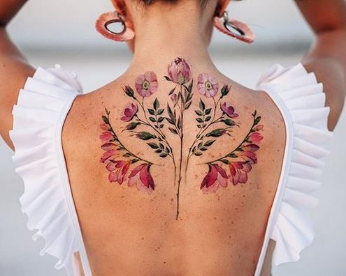 Botanical Symmetry Back Tattoo