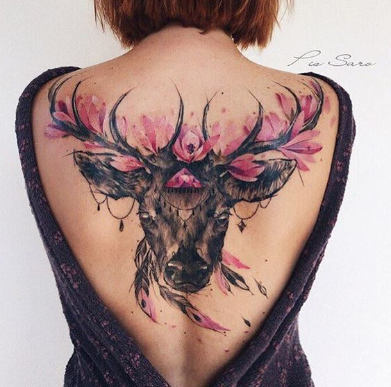 Floral Deer With Feathers Back Tattoo