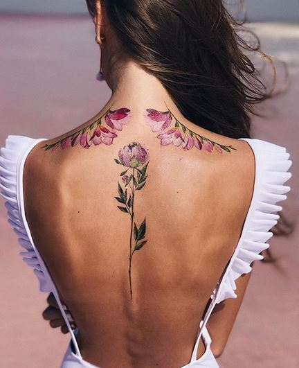 Floral Wings With Centerpiece Back Tattoo