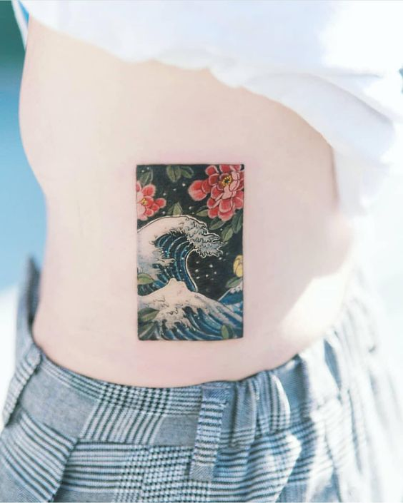 Great Wave Off Kanagawa Side Tattoo