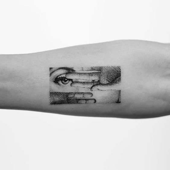 Line Hatching Portrait Arm Tattoo