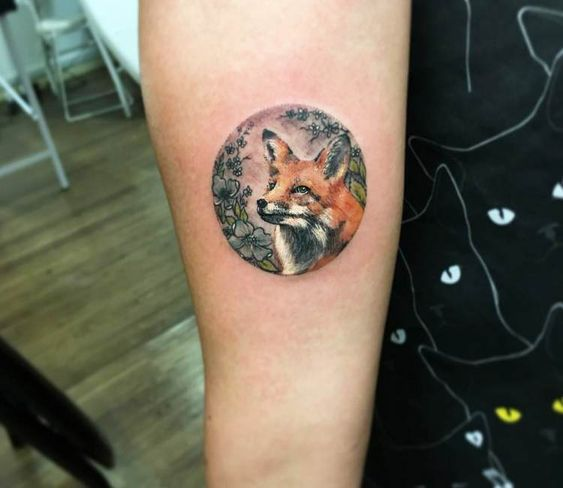 Lovely Fox Forearm Tattoo