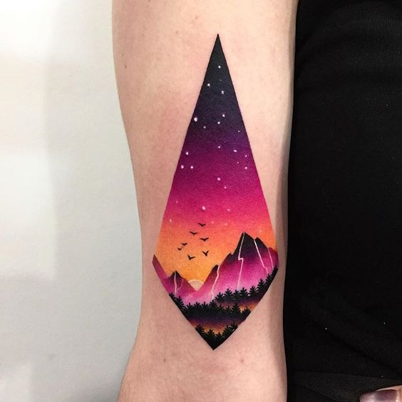 Lovely Landscape View Arm Tattoo