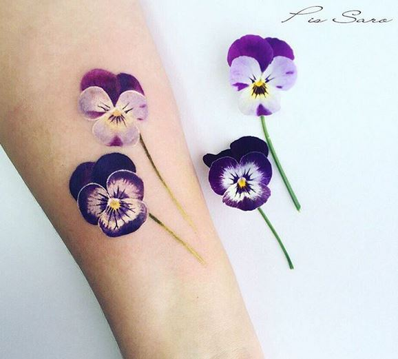 Lovely Pansies Forearm Tattoo