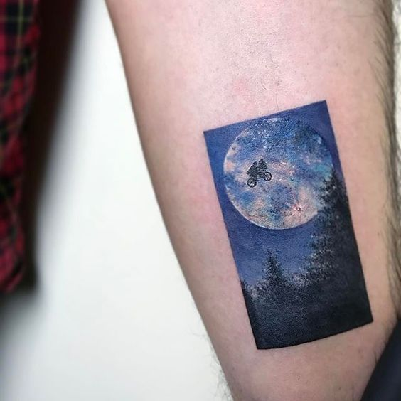 Moon Cycling Arm Tattoo