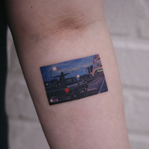 Night Drive Forearm Tattoo