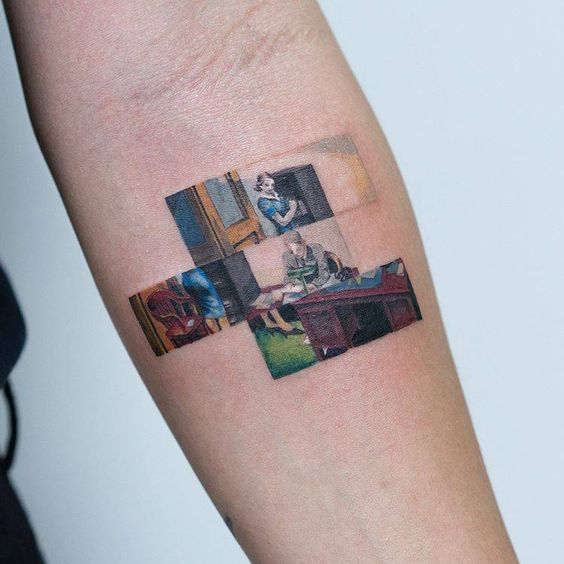 Office At Night Segmented Framed Tattoo