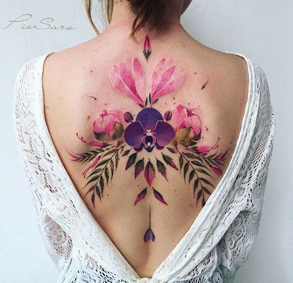Orchid And Peonies Arrangement Back Tattoo
