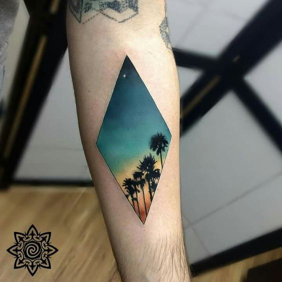 Palm Trees Lane Forearm Tattoo