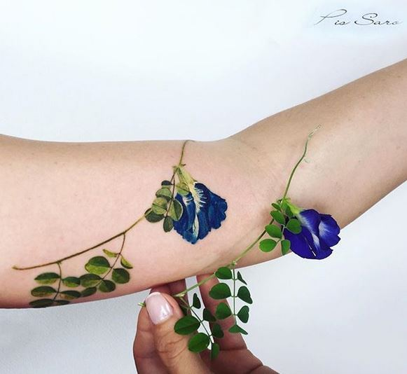 Pea Plant Flower Forearm Tattoo