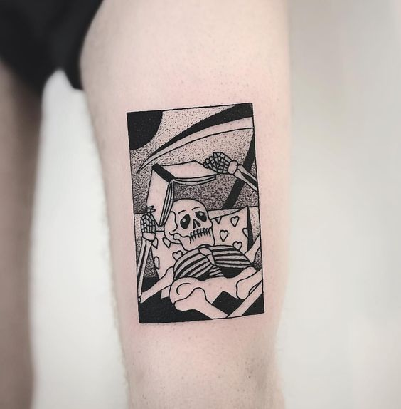Reading Skeleton Framed Tattoo