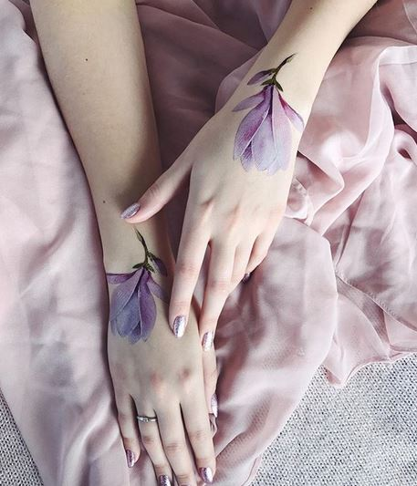 Realistic Purple Flower Tattoos