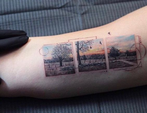 Segmented Framed Landscape Arm Tattoo