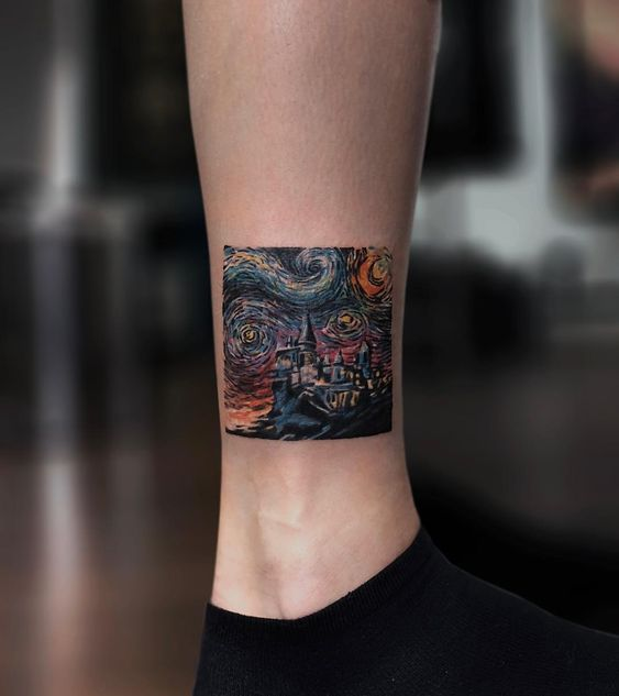Starry Night Inspired Leg Tattoo