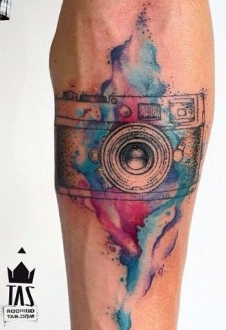 Watercolor Camera Forearm Tattoo