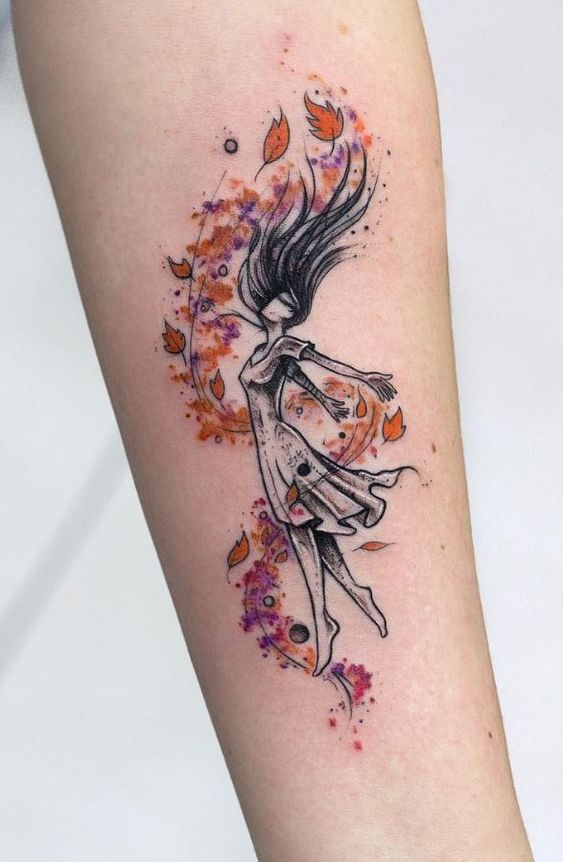 Watercolor Fall Forearm Tattoo