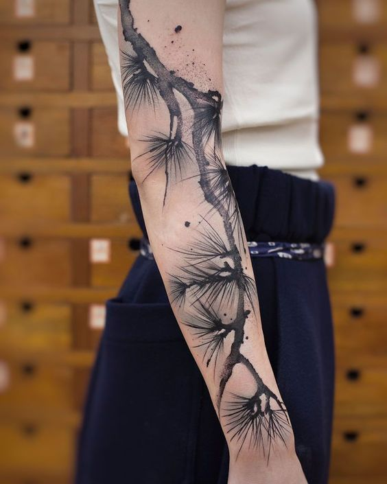 Watercolor Gray Stem Sleeve Tattoo