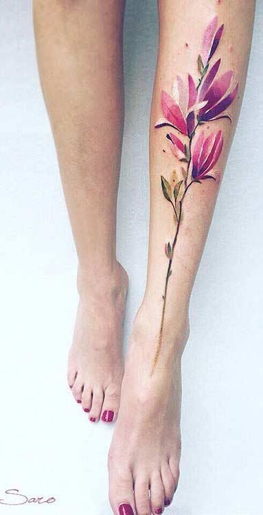 Watercolor Magnolia Leg Tattoo