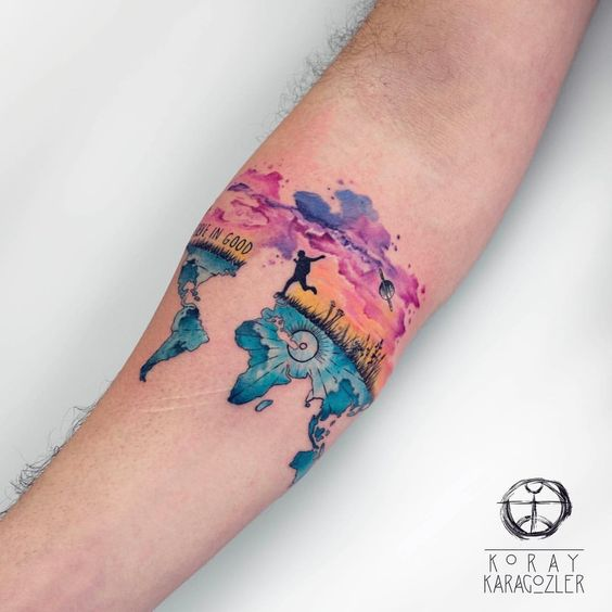 Watercolor Map Forearm Tattoo