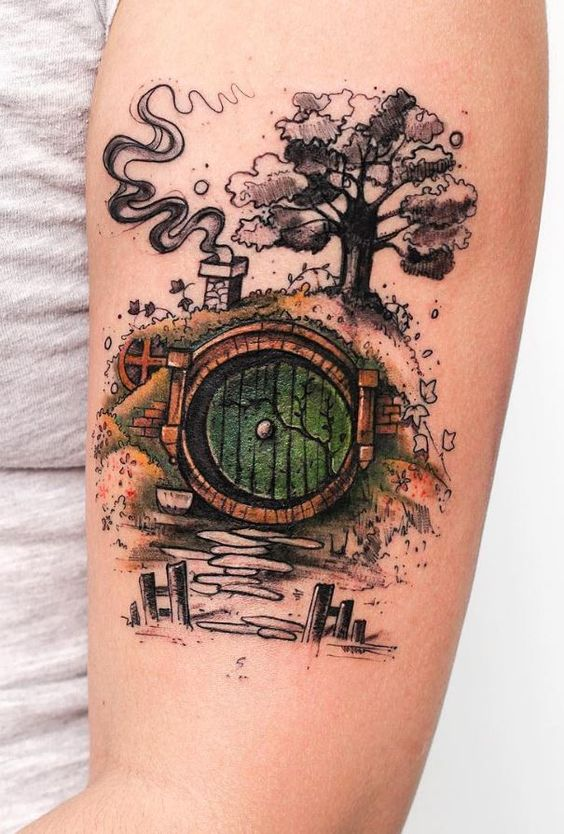 Watercolor Movie Scene Tattoo