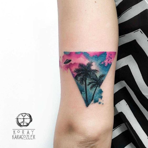 Watercolor Palm Arm Tattoo