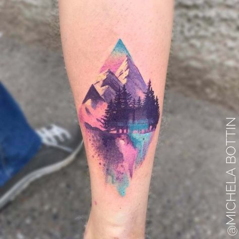 Watercolor Pastel Landscape Forearm Tattoo