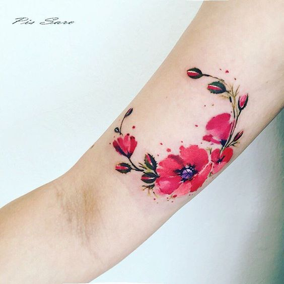 Watercolor Poppy Arm Tattoo