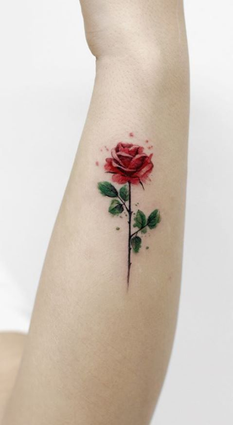 Watercolor Rose Forearm Tattoo