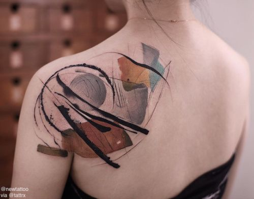 Watercolor Shapes Back Tattoo