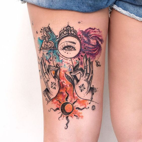 Watercolor Symbols Thigh Tattoo