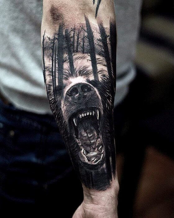 Bear In The Woods Forearm Sleeve Tattoo