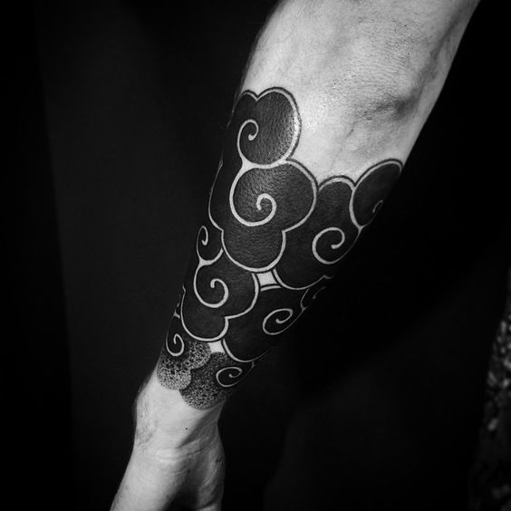 Blackwork Clouds Forearm Sleeve Tattoo
