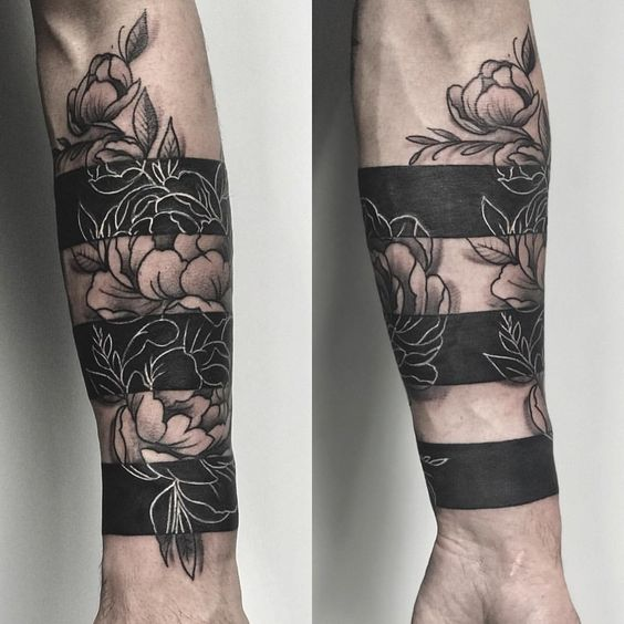 Blackwork Floral Forearm Sleeve Tattoo