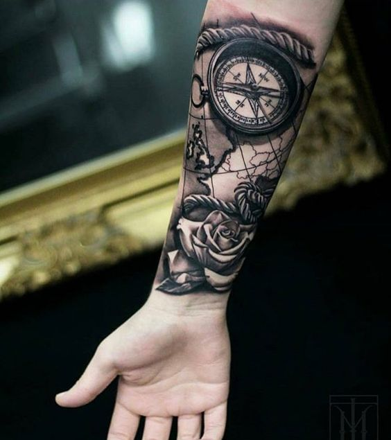 Map, Rose, Rope And Compass Forearm Sleeve Tattoo