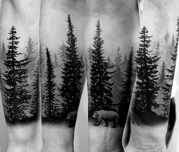Pine Tree Forest Forearm Sleeve Tattoo
