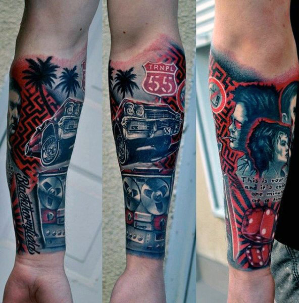 Pop Culture Forearm Sleeve Tattoo