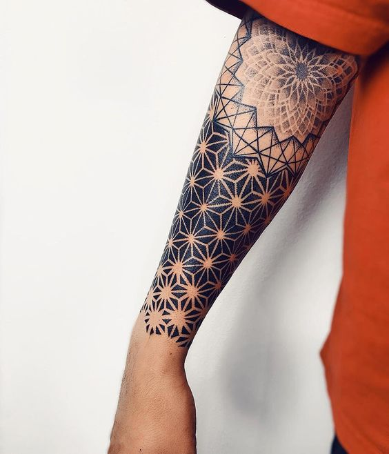 Symmetrical Geometry Forearm Sleeve Tattoo