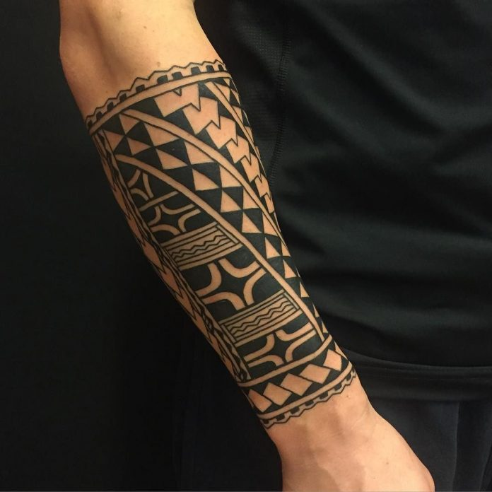 Tribal Forearm Sleeve Tattoo