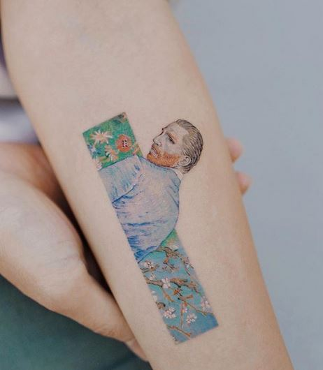 Van Gogh's Portrait Arm Tattoo