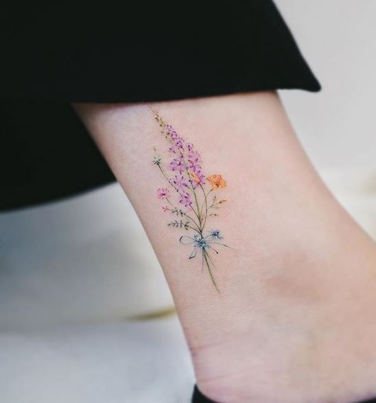 Wildflower Boquet Ankle Tattoo