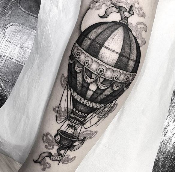 Blackwork Hot Air Balloon Arm Tattoo