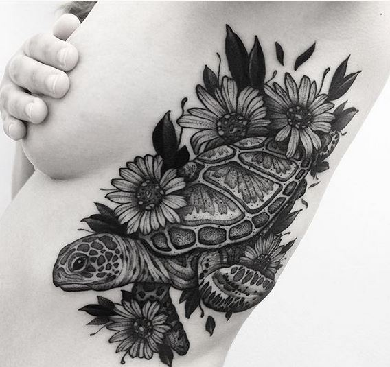 Botanical Turtle Side Tattoo