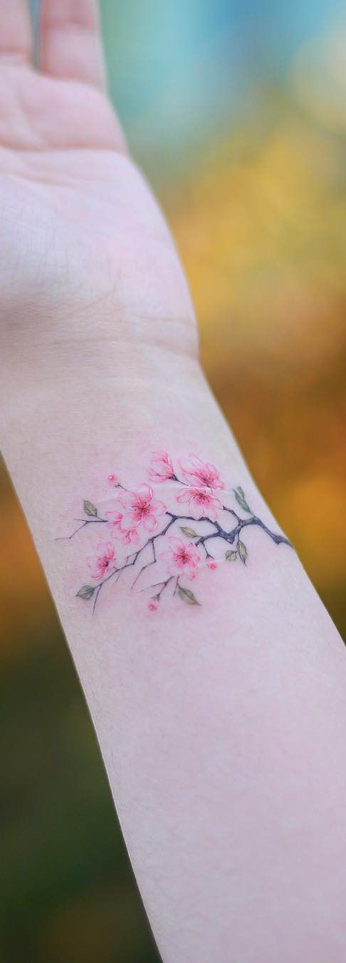 Cherry Blossoms Wrist Tattoo