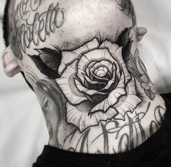 Dotwork Rose Neck Tattoo