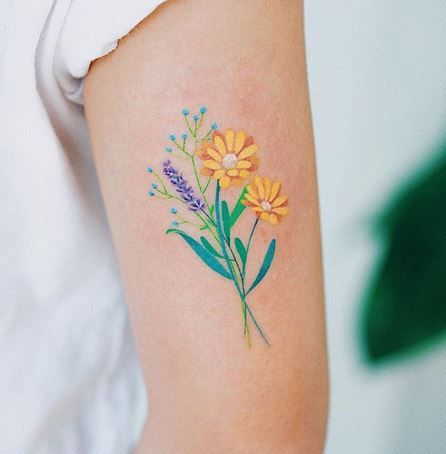 Floral Bouquet Arm Tattoo