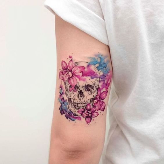 Flowery Skull Arm Tattoo