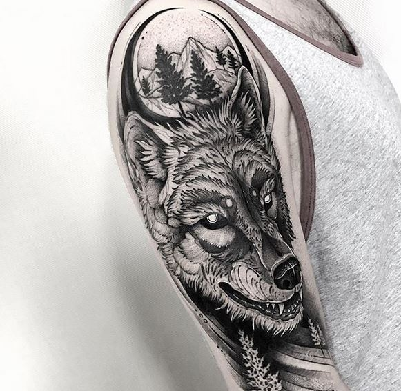 Forest and Wolf Arm Tattoo