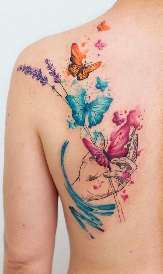 Gorgeous Butterflies Back Tattoo