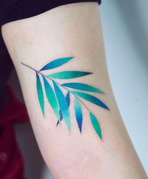 Gradient Leaves Arm Tattoo